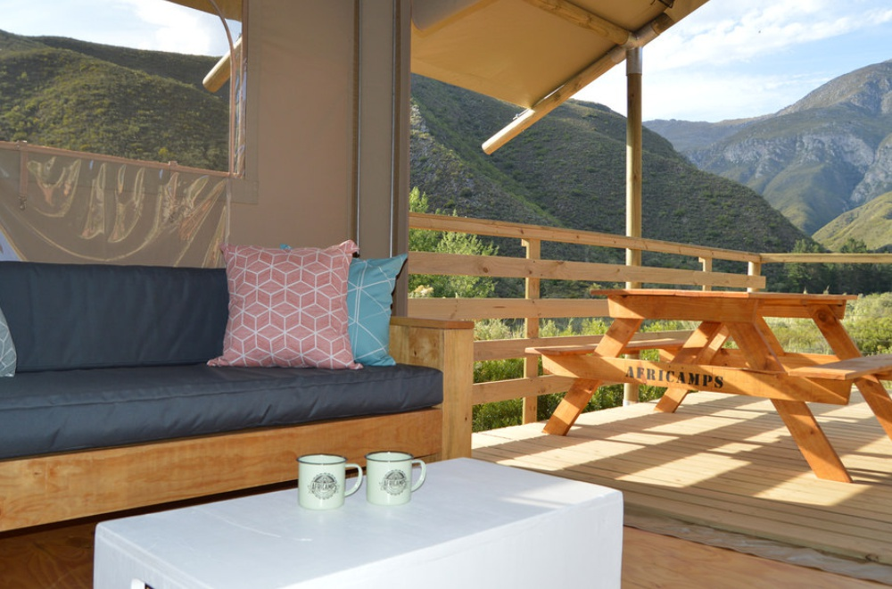 AfriCamps at Pat Busch Glamping Tent Lounge Deck View